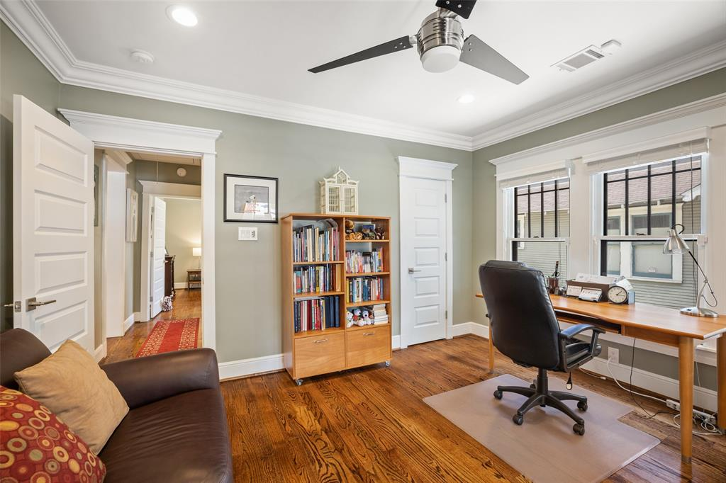 Like the other secondary bedroom, this bedroom includes recessed lighting, oak floors and some gorgeous millwork.