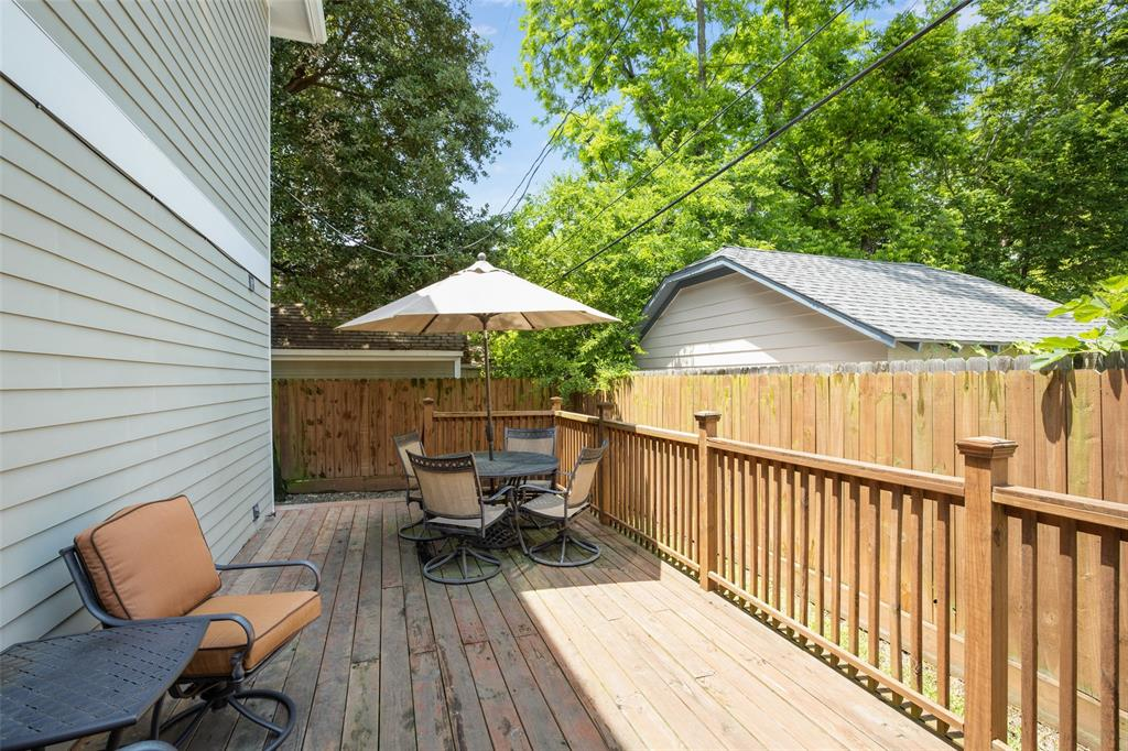 The large porch in the backyard could be great space for entertaining.