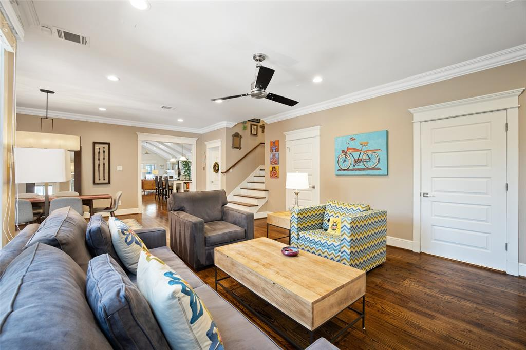 Despite it being tucked away at the rear of the home, the family room is still connected to the rest of the home and opens to the dining area.