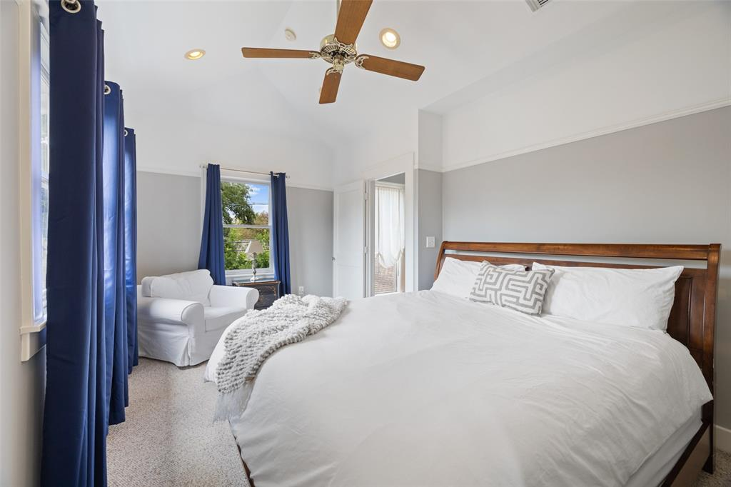 The upstairs primary bedroom has plenty of space for a king sized bedroom.