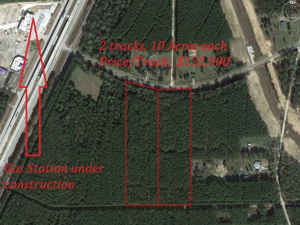 FM 2914 West Lot, Shepherd, Texas for sale is this 10-acre parcel, approximately 360 feet of frontage on FM 2914 by approximately 1207 ft deep.  Located approximately 600 ft. East of I-69.  A second 10-acre parcel, adjacent to the East, is also available for sale.  It has approximately 344 feet of frontage on FM 2914 and is approximately 1222 feet deep.  Purchase both adjacent 10-acre tracts.  FM 2914-West lot, Shepherd, TX.