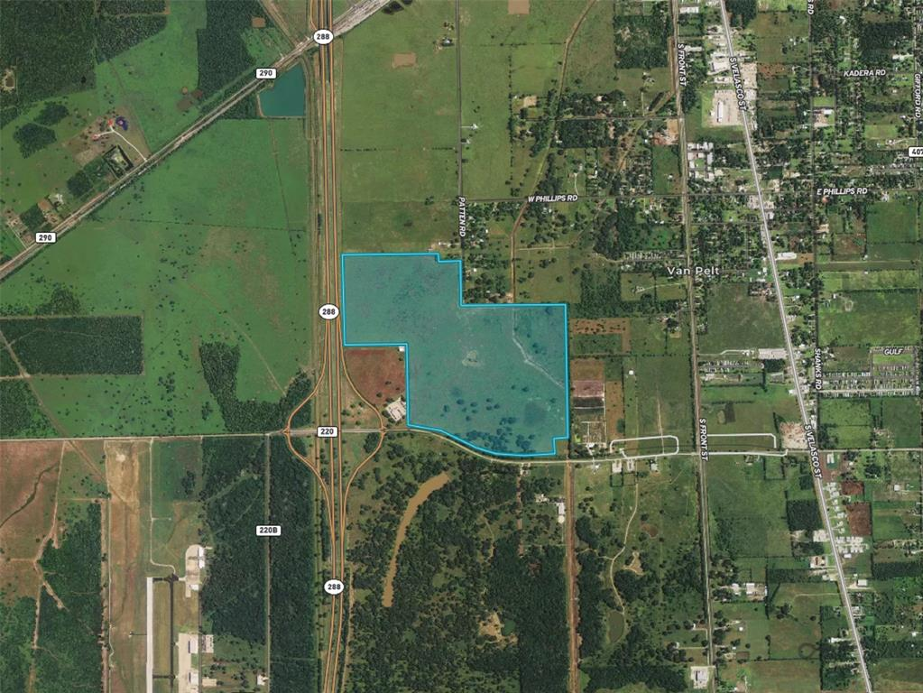+/- 232 acres with over 1600 ft of frontage along SH 288 and access along CR 220. Great development opportunity.