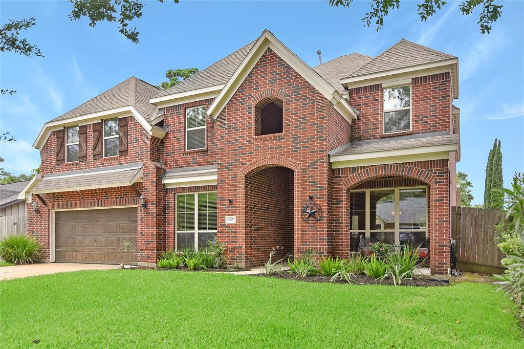 Nestled among soaring trees sits this rare all brick home on a quiet cul-de-sac in booming Candlelight Estates. The floorplan offers 5 beds, 3.5 baths, & a 2 car garage w/ workbench. It features a two story foyer entry, gorgeous winding staircase w/ iron railings, formal dining room, private study, an open concept floorplan with gas log fireplace, island kitchen w/ breakfast bar seating, SS appliances w/ double ovens, 5 burner gas cooktop, beautiful cabinetry & large butler's & walk-in pantry. The 1st floor owner's retreat features an opulent ensuite bath w/ seamless shower, large soaker tub, a double sink vanity area & large walk-in closet w/ built in shelves. The 2nd floor has 4 secondary bedrooms & 2 full baths, a HUGE game room & separate media room that includes a 120 inch movie screen & projector. The fully fenced backyard w covered veranda offers an above ground pool that can convey, or the seller will remove and repair with sod. Close to multiple parks & hiking/biking trails.