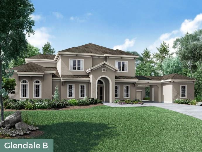 Coming Soon! The Glendale plan features a traditional yet luxurious two-story home design. This five bedroom, five and a half bath home design is centered around a large open great room including kitchen with stainless steel high end appliances, oversized island overlooking the family room and hearth room. The livable space is extended to a large outdoor living area easily through French doors on either side of the hearth room. A dramatic spiral staircase greets guests at the home's entry. Off of the foyer, there is a large private study and open dining room and a bedroom with en suite bath and walk-in closet. The large master suite features vaulted ceilings and a spa-like master bath complete with his and her areas with a large soaking tub, walk-in glass shower and spacious walk-in closet. The second floor features three additional bedrooms each with en suite baths and walk-in closets. A game room is also located on the second floor along with a Texas basement.