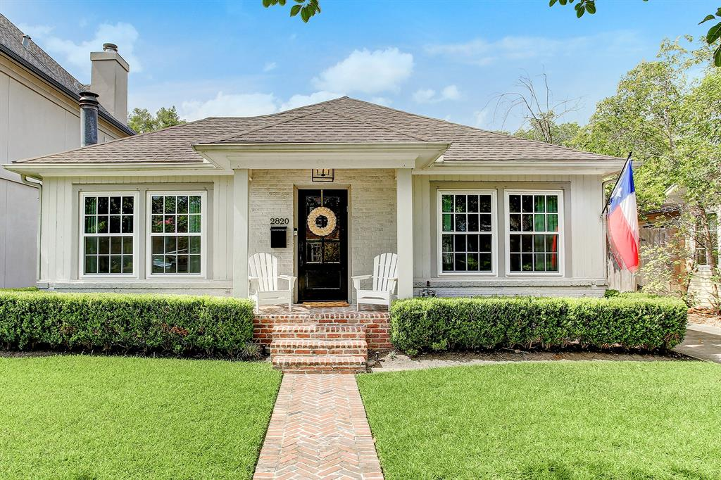 Centrally located within walking distance of Rice Village & Wier Park this charming, immaculately maintained home features traditional and modern interior selections tastefully appointed by Katie Davis Design. Zoned to West U elementary this home is filled with natural light and features 3 bedrooms, 2 baths and a sunroom overlooking the lush backyard. Stunning hardwood floors, gas burning fireplace, custom blinds, window treatments and designer wallpaper are just some of the fine features. Stylish kitchen is complemented by organic white quartz countertops, stainless steel Bosch appliances, subway tile backsplash & built-in banquette in the breakfast area. The primary suite includes two custom closets & shelving, ensuite bathroom with skylight, double sinks, spa-like shower and Carrara Venato tile floors. New wooden deck and fantastic outdoor area is perfect for entertaining.