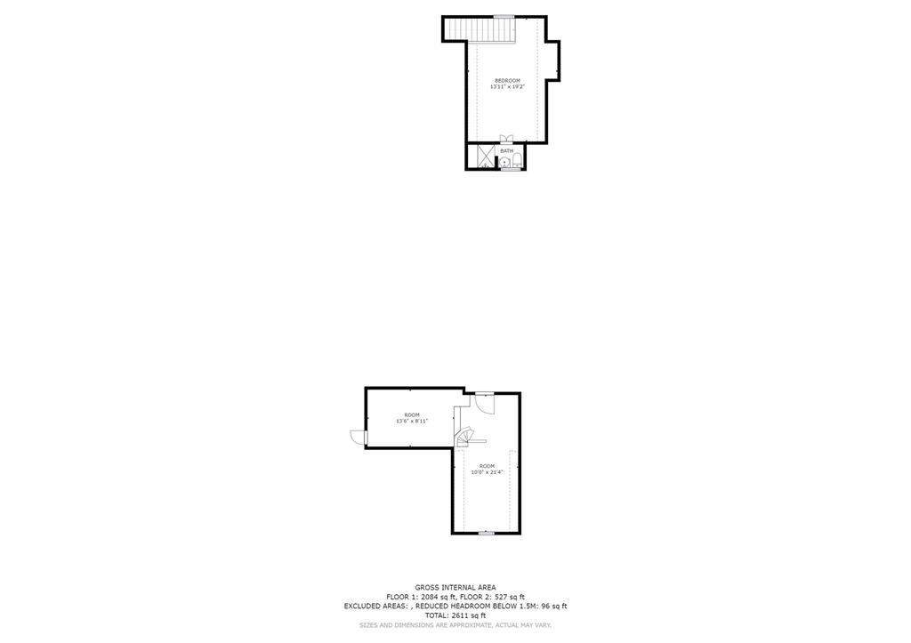 Floor plan showing the lofted areas above the primary bedroom and the flex space at the back.