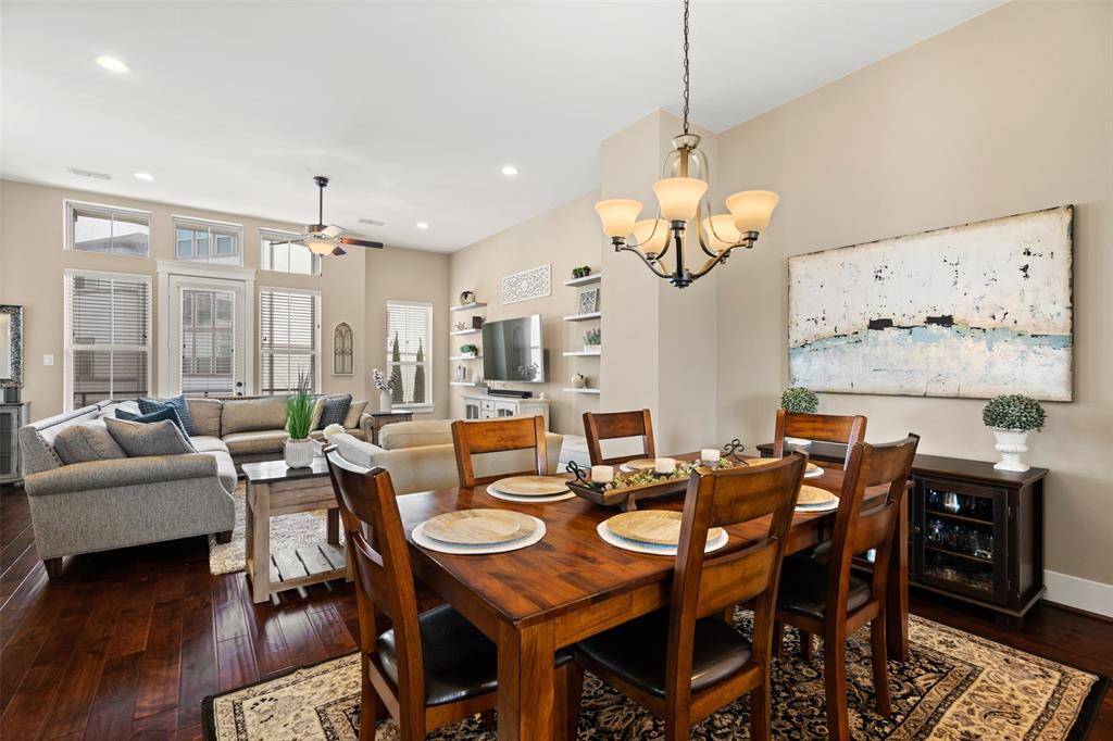 The dining space is large enough to fit a six or eight person dining table.