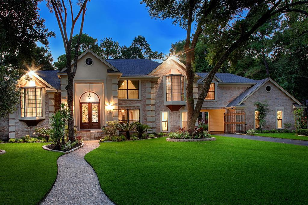 FORMER SHOWCASE HOME! Stately traditional French w/beautiful curb appeal & $350K in RENOVATIONS in highly desirable FERN LAKE bordered by 3 reflecting lakes of The Woodlands Country Club's East Golf Course, in the heart of Grogan's Mill, close to Town Center, hospitals, shopping & the Pavilion! 20 min to IAH & 5 miles to the Exxon Campus! This PRIVATE SANCTUARY LOCATED STEPS FROM EVERYTHING, w/RARE TRI-LEVEL design is perfect for entertaining family and friends. Secluded huge Master Retreat w'fireplace & exercise room! Amazing sunroom w/$25K glass opening wall to the back yard oasis w/glistening pool & spa! Impressive study/library w/wall of built-ins! Large Family Room w/stacked stone fireplace up to the soaring ceilings! Huge game room! Open floor plan! 2 wet bars! 2020 roof! 2020 pool plaster, tile & coping! 2020 double paned windows! Energy efficient HVAC! Tankless water heater! 1 carport & 3 parking spaces behind 2 car garage! THIS HOME IS ONE OF A KIND! MAKE YOUR OFFER TODAY!