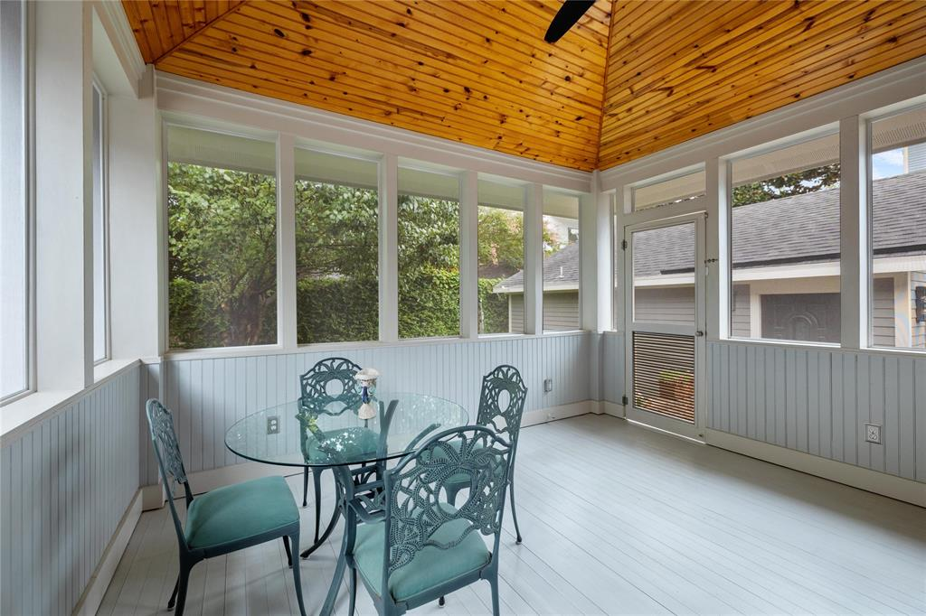 Another great outdoor space shown here is the screened rear porch with bead-board ceiling and removable screens.  This space is great for entertaining and hosting dinner parties.