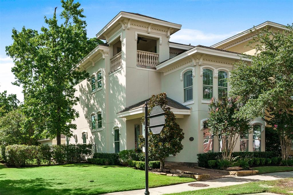 Recently featured in the Haven Lifestyle magazine Sept issue AND represents East Shore in That's My Houston. This beautiful home sits on the largest corner lot of all of the Villas.No neighbors on 3 sides. Remodeled down to the studs, this home exudes high end designer craftsmanship with a balance of sophisticated style, comfort&functionality. Coffered ceilings, double extensive trim work, custom built-ins, contemporary lighting sets this house apart.Chef kitchen with gorgeous Dekton countertops, custom cabinets, high-end stainless steel Thermador appliances & a large wine refrigerator.4 beds, 4 ½ baths; each room has its own en-suite bathroom. Spa-like primary bathroom.3rd floor can be used as 2nd Primary Suite with extra sitting area; study or gameroom. 3 car garage with the ability to add up to a 660 sq. above. 24 hour security,private clubhouse & pool. Walk to everything The Woodlands has to offer! See pool rendering pictures - and make sure to look at the virtual tour video!