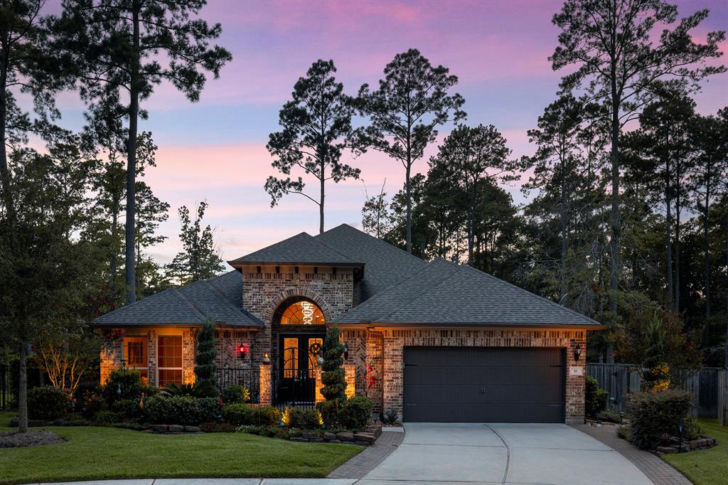 A fantastic one story in Bonterra 55+ woodforest community. This Taylor Morrison Monarch floor plan gives you a spacious living area; 3 bedrooms, 3 full baths, two-car-garage with storage & golf cart space. As you walk in you are greeted with lovely foyer and then you enter the living room that combines with the dining area & kitchen. The kitchen has a walk-in pantry, a large granite slab island, and gas thermador cooktop. The master bedroom is large and bathroom has a huge walk in shower. Bedroom 2 & 3 are also great sizes & offer walk in closets & full baths. There is also a flex room that can be used for a study. Outside there is a large covered porch with screens and grill. The home backs to greenbelt and has no rear neighbors. This home has a number of upgrades and features. Bonterra has a clubhouse, pool and activities exclusive to the residents.
