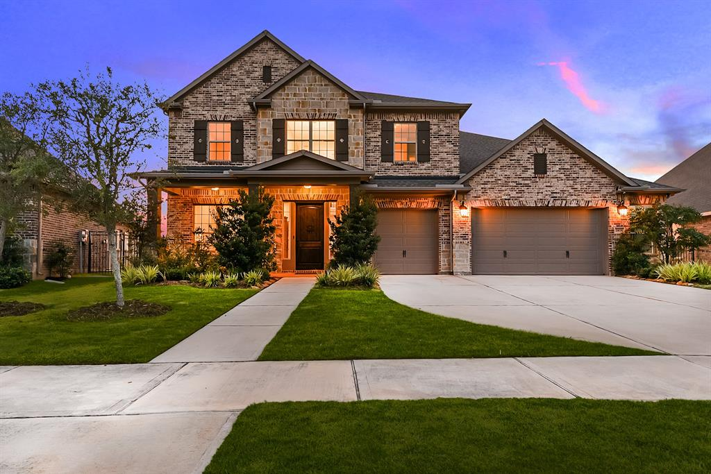 Gorgeous 4 Bed 3.5 Bath, oversized 3 Car Garage, 2-story David Weekley Home Built 2018. Located in the sought-after Master Planned Community of Jordan Ranch. A pool-sized backyard and amazing waterfront views! This Luxury Open Concept Home offers on the 1st floor: Den or Office space, Powder room, Island Kitchen with Double wall ovens, Breakfast Bar, Utility room, Dining room and Family room. Also, the Primary Master en suite with fantastic Bathroom has over size shower and an extra-large closet space with an island drawers & shelving you will love! Has both Porch & Patio. On the 2nd floor is the Game room, Living room, Wet Bar, Junior en suite, plus the 2 bedrooms share a Jack & Jill bathroom.  Abundant windows letting in natural light throughout this Home. This Home has one of a kind sunset views that will win your heart over. Minutes to I-10, grocery stores, shopping plazas, malls, and restaurants. Neighborhood surrounded by lakes and trails! A Must-See! Make your appointment TODAY!