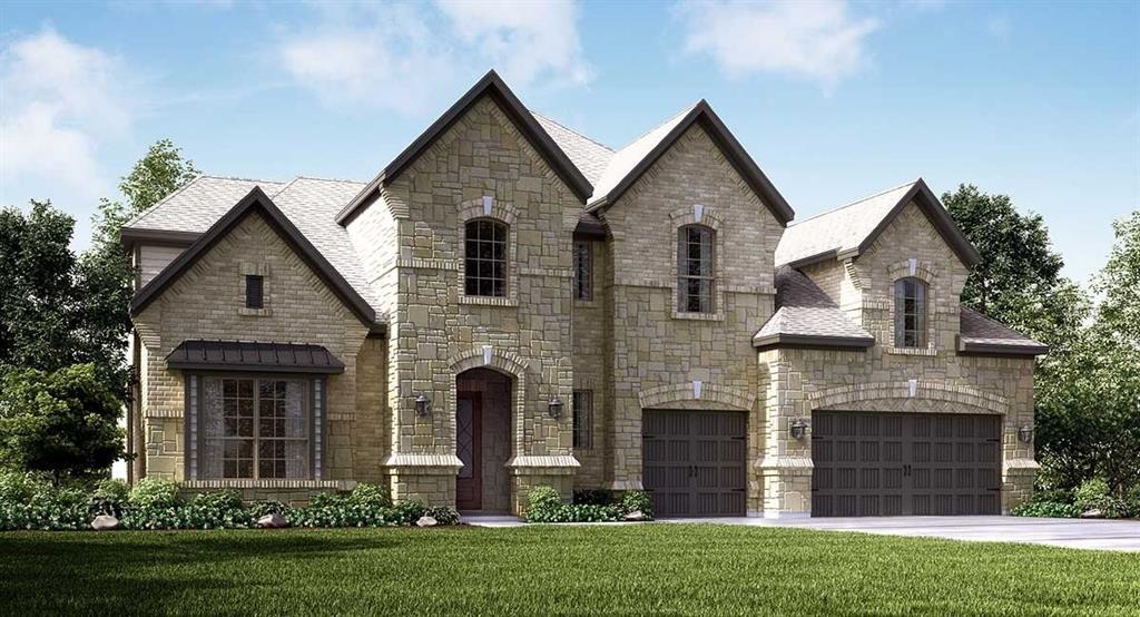 The distinctive two-story Ridgefield II plan by Village Builders features an welcoming entry foyer, a study with beautiful ceiling beams, an elegant formal dining room, a spacious island kitchen with a breakfast room and a large walk-in pantry, an adjoining butler's pantry, a generous family room with a fireplace, a handy mud room and powder bath, extended covered rear patio with outdoor living package  The first floor master suite features an adjoining rotunda sitting room, a walk-in shower and separate tub, dual sinks and dual walk-in closets.  A large game room is located on the second floor with media room.