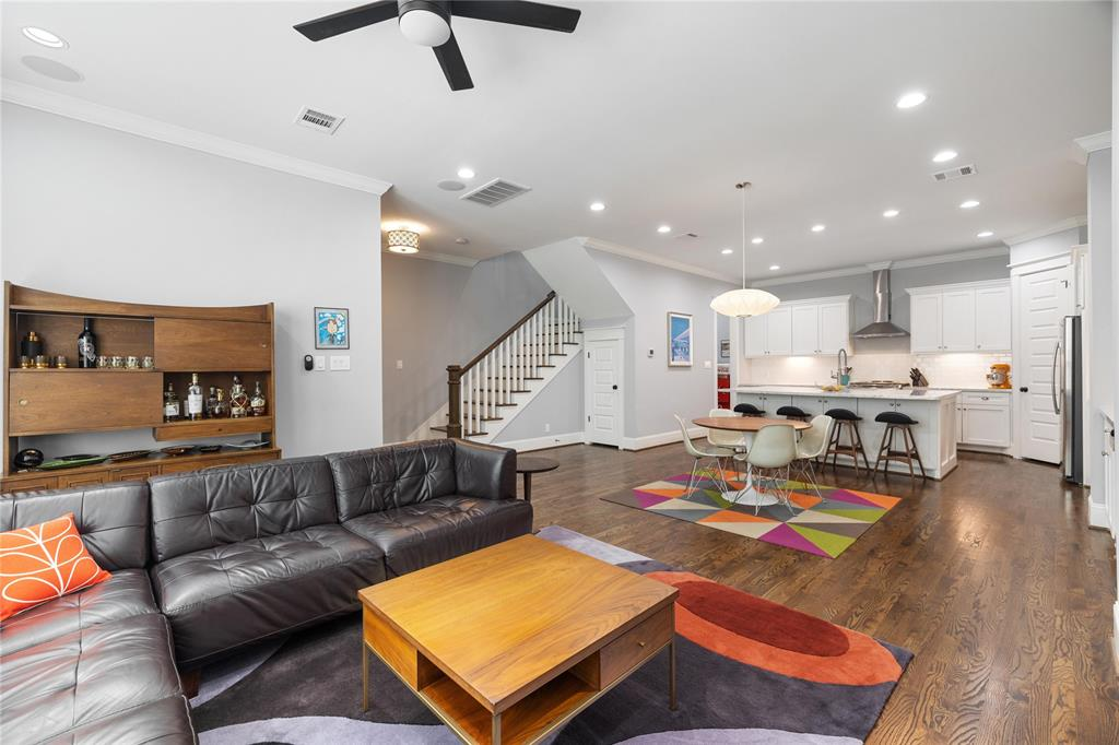 The open living space offers tons of natural light, space, and storage.