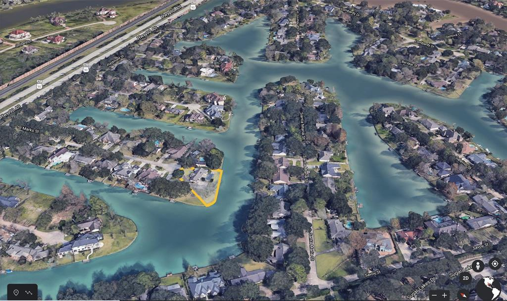 This is likely one of the last cul-de-sac waterfront lots in Venetian Estates that will become available for resale in the near future! With over 240 feet of water frontage and gorgeous pecan trees, this is an opportunity not to be missed. The backyard seems never-ending, offering the ability to build a large one-story home surrounded by water views! Another option would be a two-story home with a large terrace overlooking the canals of Lake Venice. The possibilities are endless for this absolutely gorgeous home site. The Venetian Estates lifestyle, like no other,allows for swimming, boating, fishing & more from your own private dock located only 20 minutes from the Galleria and the center of Houston! Walk the tree shaded streets around this friendly neighborhood and experience true community! Walking and biking trails abound in close proximity. Truly amazing to find an almost 1/2 acre lot on a recreational lake so close to everything our world class city of Houston as to offer!