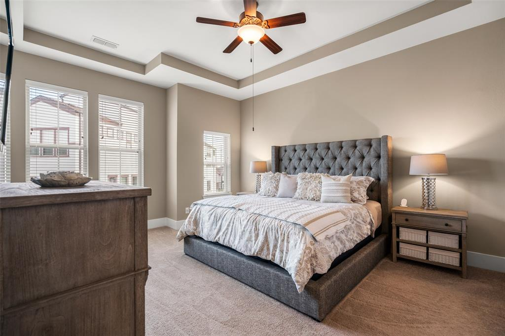The spacious master suites features a large walk-in closet.