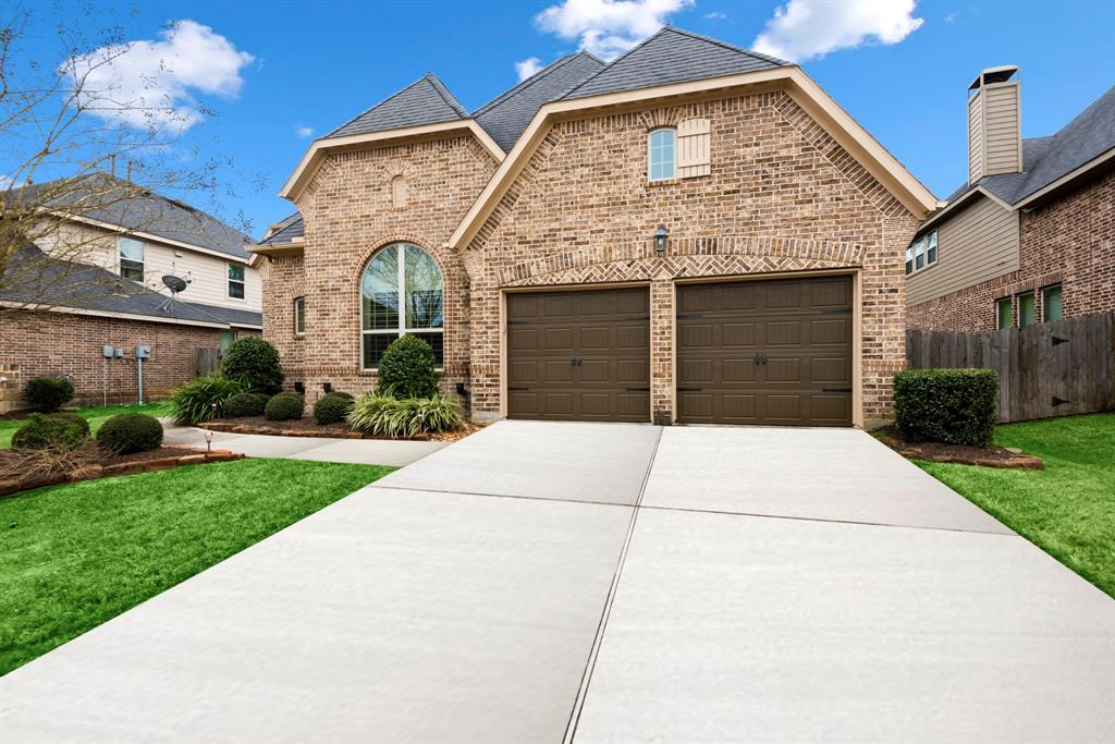 Welcome home to Harpers Preserve gated community. Gorgeous 1.5 story home by Darling Homes, 4 bedrooms, 3.5 baths, 3 car tandem garage. Covered patio welcomes you. High ceilings w/crown moldings, plantation shutters, art niches, & curved archways in abundance throughout. Gourmet kitchen, w/granite counters, maple raised cabinets, SS appliances, opens to airy breakfast nook & family room w/gorgeous stacked stone fireplace. Formal dining room with an abundance of windows. First floor primary retreat w/seating area, & bathroom w/separate bath & shower, walk in closet. Three bedrooms, one bdrm w/french doors, may be used as a study. Second floor, game room w/half bath. Outstanding amenities include the Recreation Center, a community pool, & pool barn with outdoor kitchen, playground, walking trails, bowling, bocce ball greens & horseshoe pits. Lookout Hill, located in the central recreation area, features boulders for children to climb on & explore the environment. New HEB/Med Center.
