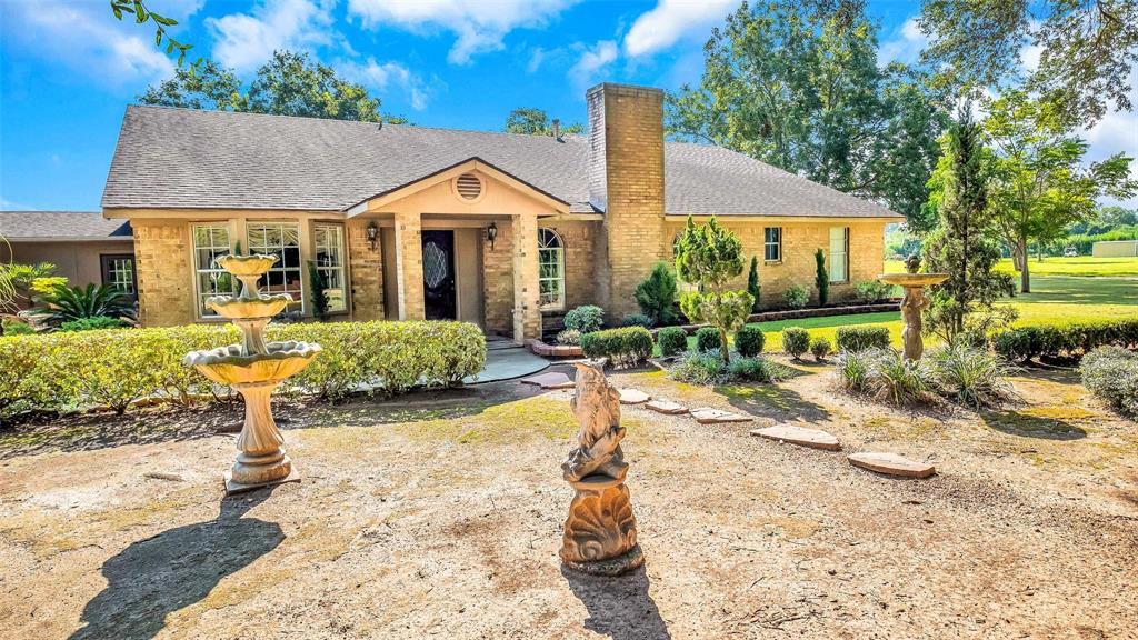 Unique country home in booming Simonton/Fulshear area on 8.26 acres.   No flooding here as property sits on on highest ground in area.  Private road entrance from FM 1489 and minutes from FM 1093. Main home is approx. 3,661 sf which includes an 1,100 sf guest cottage attached to main house that currently operates as a country store. Also situated on the property are plentiful grafted pecan trees throughout, an outside enclosed building currently used as a taxidermy studio, a kitchen, a full bath w/shower, pecan house, and barn. Formerly a horse boarding facility, watering stations are found throughout the property.  The Great Room overlooks the outdoor covered patio w/wet bar - perfect for entertaining! Bring your horses and enjoy your new lifestyle or purchase for future residential or prime commercial development opportunities! Endless possibilities here!  40 min. from Houston via FM1093 tollway or 20 min from Katy via FM1489. Only 0.8 mi from FM1093 at FM1489.
