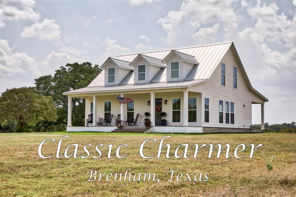 Lovely newer construction farmhouse overlooking rolling hills of Washington county.  Only a few minutes from Brenham but feels like hours away from the hustle of big city life.  Home has a metal roof and large front and back porches.  Meticulously planned with all the features and upgrades of new construction but the feel of an old farmhouse.  Definitely a must see.   Call Tracy Kamprath to schedule your visit.