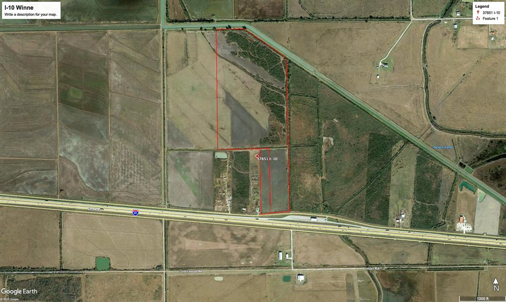 75.410 approximate acres. About 798' on I-10 East on North frontage road. Enjoy low taxes and great unrestricted I-10 East frontage.