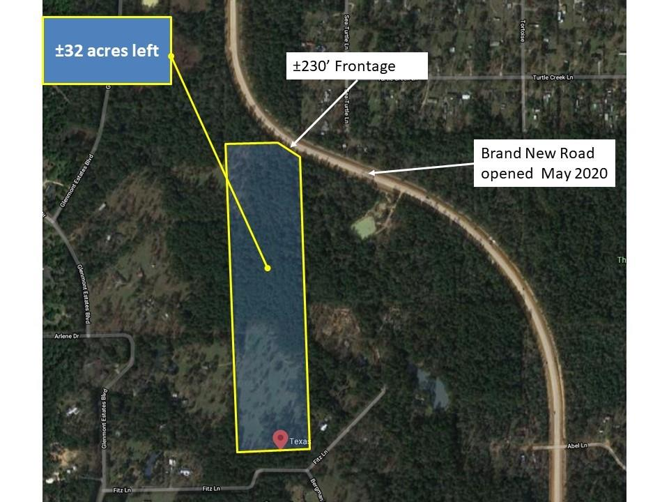 Gorgeous Acreage ±42 acres with approx. 430' of frontage on Grand Pines, in two segments. Unrestricted, Mixed Cleared, Wooded/Brush, not flood zone.                                                                                                             