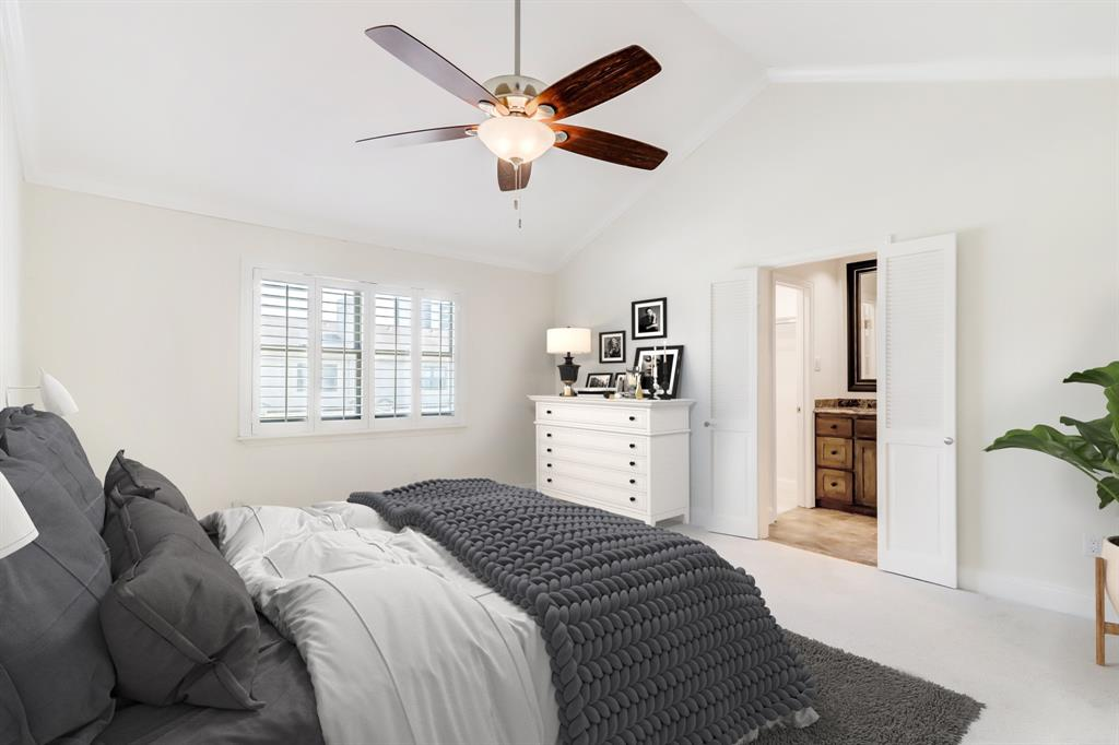 The primary suite upstairs is roomy and will readily fit a king sized bed and side tables. It has a standard closet in the bedroom as well as a walk-in off the bath. (room is virtually staged)