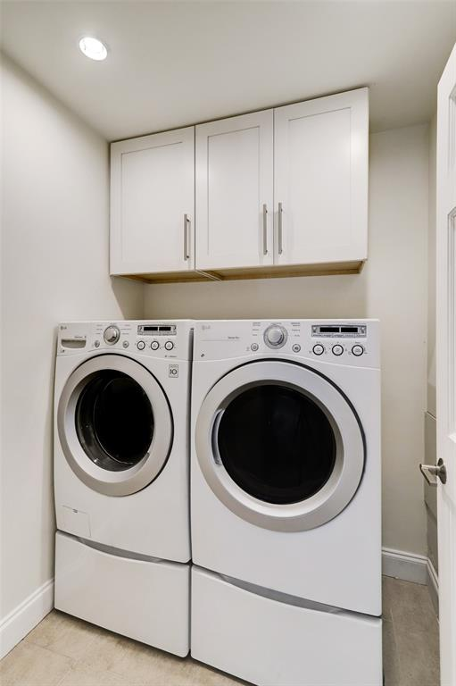 The walk-in laundry room (washer and dryer included) is conveniently on the second floor between the two bedrooms.