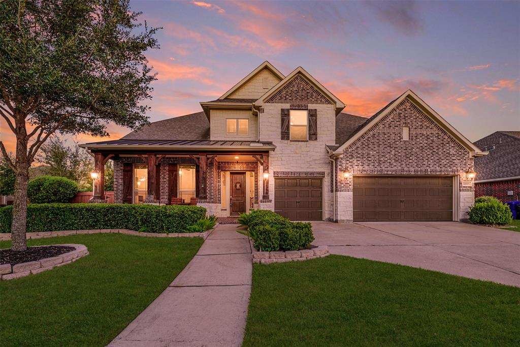 This 5 BR, 4.5 bathroom dream home is located in the highly desired Aliana Master Planned Community and is move-in ready.   It has a formal dining room, detailed tray ceilings, built-in cabinetry in the family room, wood tile flooring throughout, a gourmet kitchen with modern white cabinetry, and a butler's pantry.  The backyard has a salt water pool, adorned with mature fruit trees and raised garden beds.  The luxurious outdoor space is perfect for entertaining or relaxing.  The second floor has a game room, and media room with surround sound, and projector screen-- which is included with the sale of the home. The 4,218 square foot corner property is a New Haven floor plan by Village Builders and has a cozy, welcoming front porch and 3-car garage.  Residents have access to two private clubhouses, community resort style pools, tennis courts, serene walking trails, and fitness centers.  It is also zoned to some of the top schools in Fort Bend County.