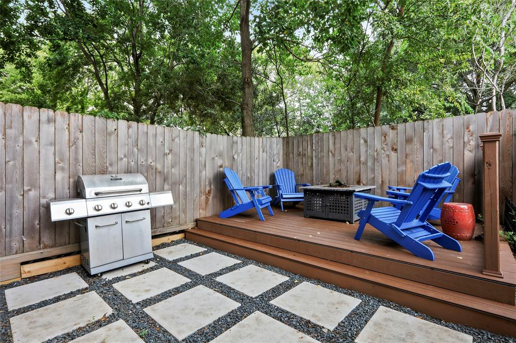 Per the sellers, this backyard patio is a great space for entertaining or relaxing on the weekends.