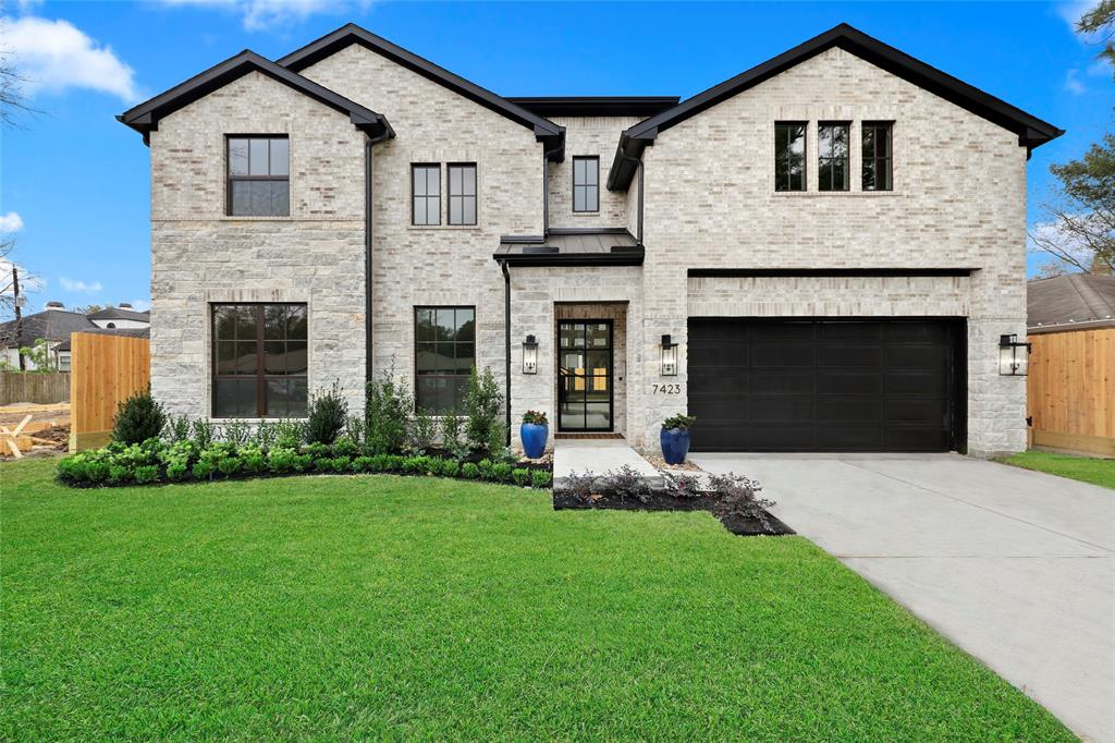 """**Builder has Completed Home ready to show @ 6619 Housman**  Welcome to 7423 Schiller located in Pine Terrace (Spring Branch). This NEW CONSTRUCTION home by Quintessa Homes of Texas features 4 bedrooms/3.5 bathrooms, a Guest Room and Study on the First floor and a 2nd study upstairs. Exterior features include Brick and Stone exterior with Metal Roof accents, Over-sized Designer Coach Lights, Vinyl Low-e windows and Landscape/irrigation in Front Yard. Interior features include Custom Metal Glass Front door, Soaring 20 ft ceilings, 10"""" baseboards (1st floor), Designer selected fixtures, Chef's Kitchen with high-end appliance package, double vanities, separate tub and shower, high-end designer quartz counter tops, direct vent fireplace in Family Room, Home Audio + Automation pre-wire, Security System pre-wire and wood floors throughout."""