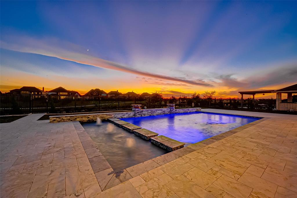 """RARE OPPORTUNITY for a barely lived in home facing NE on a large cul-de-sac lake lot with pool, 5 bed, 5 bath, and 4.5 car garage. 40x20 custom pool boasts ~3,000 sf deck, smart control panel, heater, lights, fountains, and outdoor kitchen w/ hibachi grill. Primary room has bay windows, large vanity, and walk-in closet leading into the utility room w/ sink/countertops/shelves. Spacious secondary bedrooms with walk-in closets. Gourmet kitchen w/ quartz countertops, white cabinets, vent hood, 36"""" range with 6 burners, farmhouse sink, butlers pantry, wine cooler, and walk-in pantry. Work from home in your study w/ private bath easily converted into a 6th bedroom! Upgrades include gravel/paver walkway, gutters, roller shades, security cameras, soffit lighting, and sprinklers. Walking distance to the Westmoor Clubhouse with gym, swimming pool, tennis courts, bike/walk trail, and playground. Located next to GP 99, Hwy 90, and WP Tollway. Warranty thru Builder 05-2021 and Pool 09-2021."""