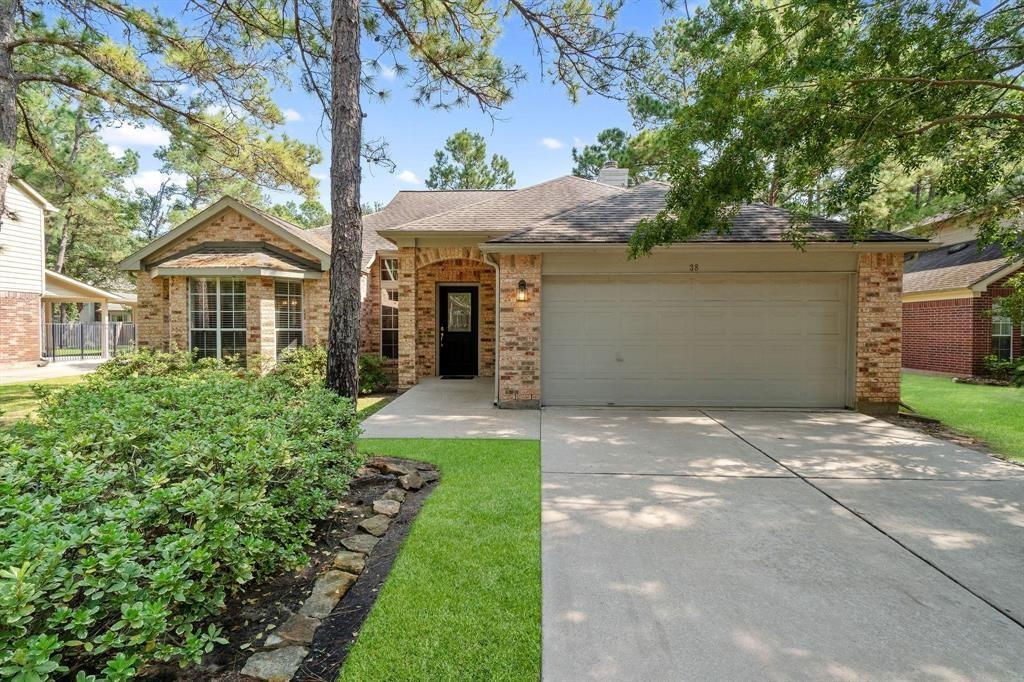 Location! Location! Location! Home is centrally located in The Woodlands inside the desirable Cochran's Crossing Village! This meticulously maintained home is towards the end of a quiet CUL-DE-SAC and is move in ready! Home features an updated kitchen with granite counters, laminate wood floors, split floorplan, tall ceilings, gas log fireplace, modern paint palette, and a nice, private backyard. This house has TONS of storage space! 3 bedrooms + study, or 4 bedrooms.  Walk to The Woodlands High School and a quick 1 mile walk to Cochran's Crossing Shopping Center, with grocery store, restaurants + shops. Close to bike/walking trails, parks (quick back access to Bear Branch fields). Zoned to Powell, McCullough and The Woodlands High School! Refrigerator, yard service and pest control are included! PROFESSIONAL PHOTOS COMING SOON!