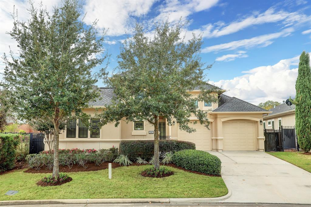"""SPECTACULAR ONE-STORY COURTYARD home within the beautiful, 24-hour guard-gated Royal Oaks Country Club community! This sprawling single-story design features 3-bedrooms, 3-baths, and a """"fitness room"""" aka 3rd-car garage conversion currently finished out with nice flooring and central AC. The main house offers open-concept living with a lovely formal dining room, soaring ceiling height, plantation shutters, upgraded countertops, quality craftmanship, fantastic storage options, breathtaking island kitchen, dry bar/serving station, quaint study nook & covered patio. Mesmerizing 3D cube mosaic wood flooring elevates the dining and foyer areas with visual interest and style. Serene Master Retreat has a deluxe built-in entertainment center and overlooks the well-manicured back lawn. LUXURIOUS primary bathroom and ENORMOUS CUSTOM CLOSET is SURE TO IMPRESS! Captivating details, timeless/traditional finishes combined with eclectic accents make this one unforgettable home."""