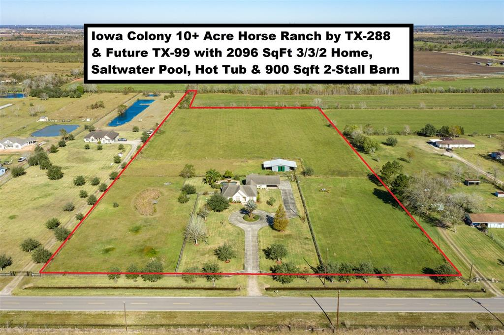 Iowa Colony 10.12-acre horse ranch by TX-288 & future TX-99 with 2096 SqFt 3/3/2 home, stable, pool & hot tub. 2-Car detached garage has 3rd full bathrm, 2nd W/D hookups & 2-car attached carport. Saltwater pool w/beach entry & a hot tub w/waterfall into the pool. 900 Sqft 2-stall stable has attached covers on opposite sides. Property is mostly cross-fenced improved pastures w/a pond and has 539 ft Brister Pkwy/CR 121 frontage, gate & concrete circle driveway. Ag exemption currently in place for hay production. 30 Miles to Downtown Houston & Hobby Airport. Located on the Northside of CR 121 between CR 87/Pursley & CR 64, about 6 miles South of Manvel's TX-6 & CR 67 intersection, 2 miles East of TX-288 & 1.5 miles North of CR 60 (Future route for the Grand Parkway/TX-99). A portion of the property is in the city limits of Iowa Colony and the remainder is in Iowa Colony's ETJ. Perfect property for residential property with horses and/or livestock. Watch Virtual Tour! See Docs for Survey!