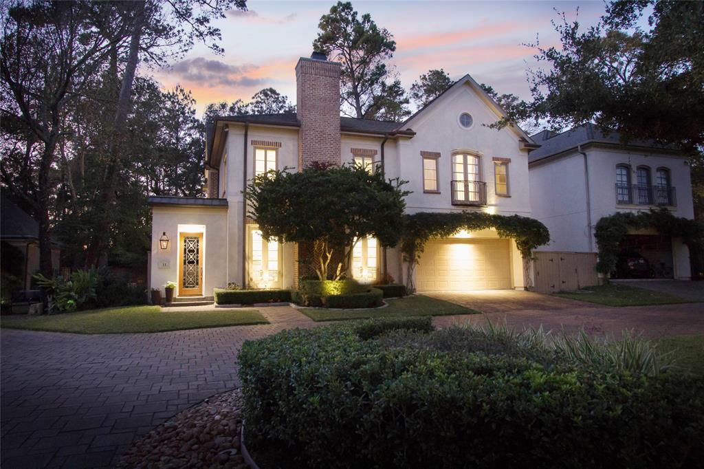 A brilliant magazine worthy custom home in The Pointe, that is a unique exclusive gated neighborhood that is just a few steps to trails, reserves, and Lake Woodlands. The best amenities, parks, restaurants, and shopping The Woodlands has to offer is literally a short bike ride away. Immaculate and meticulously maintained, this home is nestled in a gated brick paver cul-de-sac that is private and exclusive to just a few homes and no neighbors behind. This home greets your guests with a lush English garden courtyard with fountain, stunning architecture, and intricate millwork throughout. Over $130,000 in renovations, including a completely renovated kitchen with an over-sized island with extended custom breakfast table, recent Jenn-Air stainless appliances, gorgeous custom built-ins and media unit, and expansive wood floors. Systems are energy efficient with low utilities and most have been recently updated included smart Nest thermostats and a smart irrigation system.