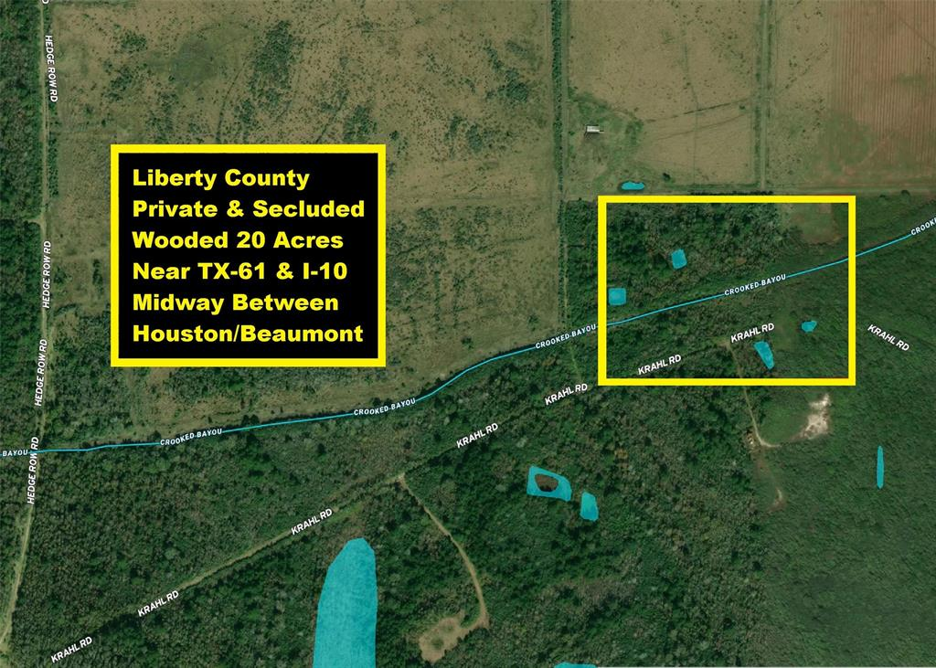 Liberty County private & secluded 20-acre tract near TX-61 & I-10 about midway between Houston & Beaumont. The property is heavily wooded and bisected by Crooked Bayou. Recorded Right Of Way for oil companies known as Krahl Road. Roads leading to property off of Hankamer Loop are oil company right of ways that can be used by landowners per the recorded document. There is no guarantee of future use and parts of the road are not maintained. Four wheel drive will be needed in wet weather. The land is located 5 miles NE of Hankamer, 13 miles South of Devers, 6 miles North of I-10 & 3 miles East of TX-61. The property has a 45-mile Interstate commute to Beaumont or Houston. The property has no known Deed Restrictions and is not in any City's limits. Research into area Codes and Restrictions will be the responsibility of the buyer. The land is in Zone AE of the FEMA Floodplain Map. Seclusion & privacy should make for a good hunting/recreational. No Survey Available.