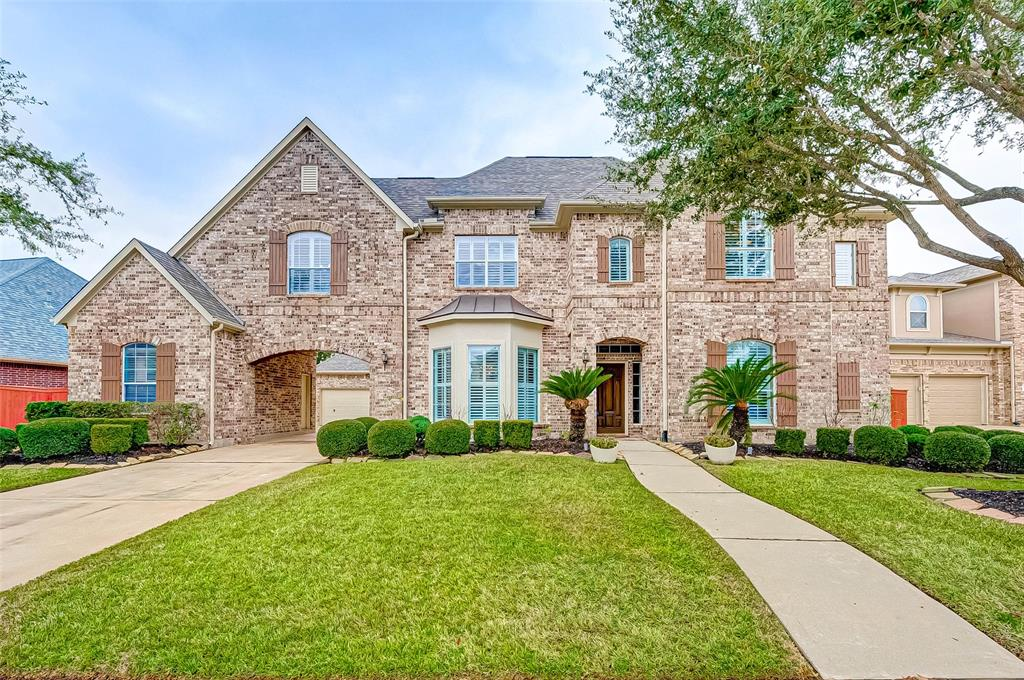 Heavily upgraded & updated 2-story w/ resort-like backyard in the amenity rich community of Lakes on Eldridge North. Inside is an open concept plan w/ high ceilings & abundant natural light. Beautiful Fedrick Harris Home on a big waterfront lot. New roof on 2019 and HVAC system on 2017 with extended warranty even with high-tech UV light protect from bacterias and viruses like COVID. 4 bed 3.5 baths, both formals w/ Hardwood floors, big 2 story Family room, Game room, Media room upstair, Red oak stair case. Granite kitchen w/ stainless appliances. Huge master suite has big sitting area and Lavish bath w/ granite corner. Iron spindles, upgrade tile.  Upgraded toilets and counter tops. Built-in surrounding system. Tinted glass. Covered porch & summer kitchen. Motor court has 3 car garage including porte-cochere. Beautiful Garden Lights. Back yard is perfect for pool with gorgeous sunset. Ready to move in without any repair!