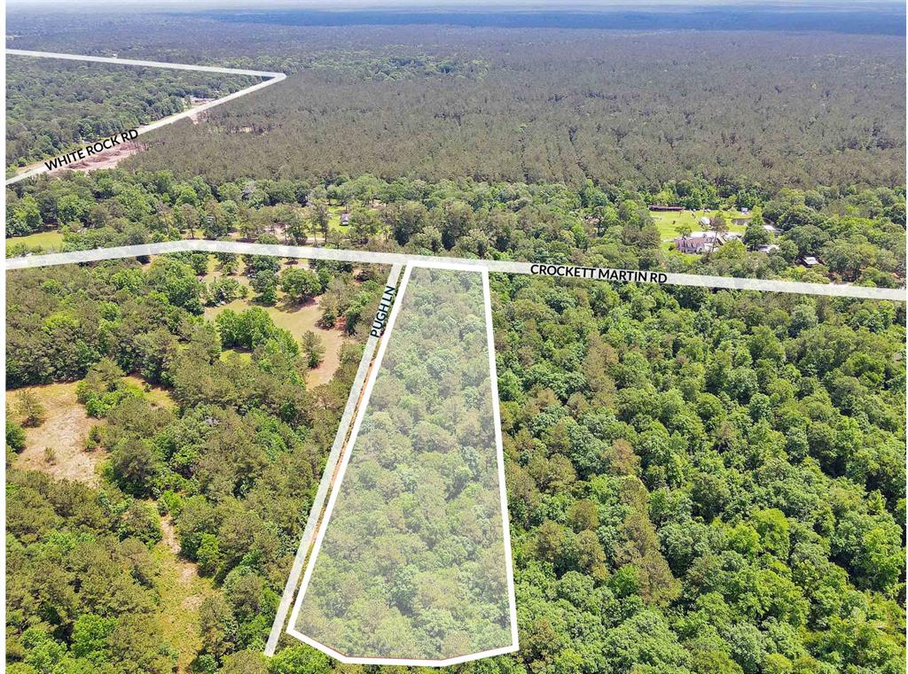 Long, wooded, rectangular unrestricted 17.8-acre tract ideal for many uses including: single family, industrial and investment with 308ft of frontage on Crockett Martin Rd. 1.8 miles north of FM 2090 and 3.5 south of Hwy 105.