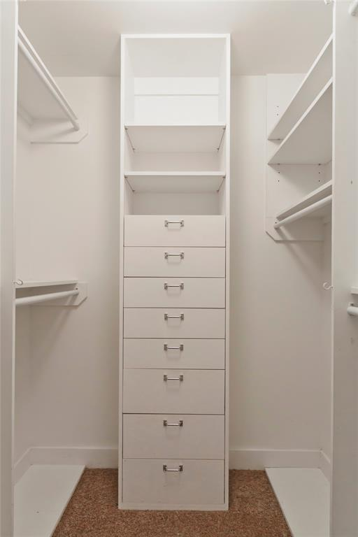 A closer look at the primary closet, every inch well utilized.
