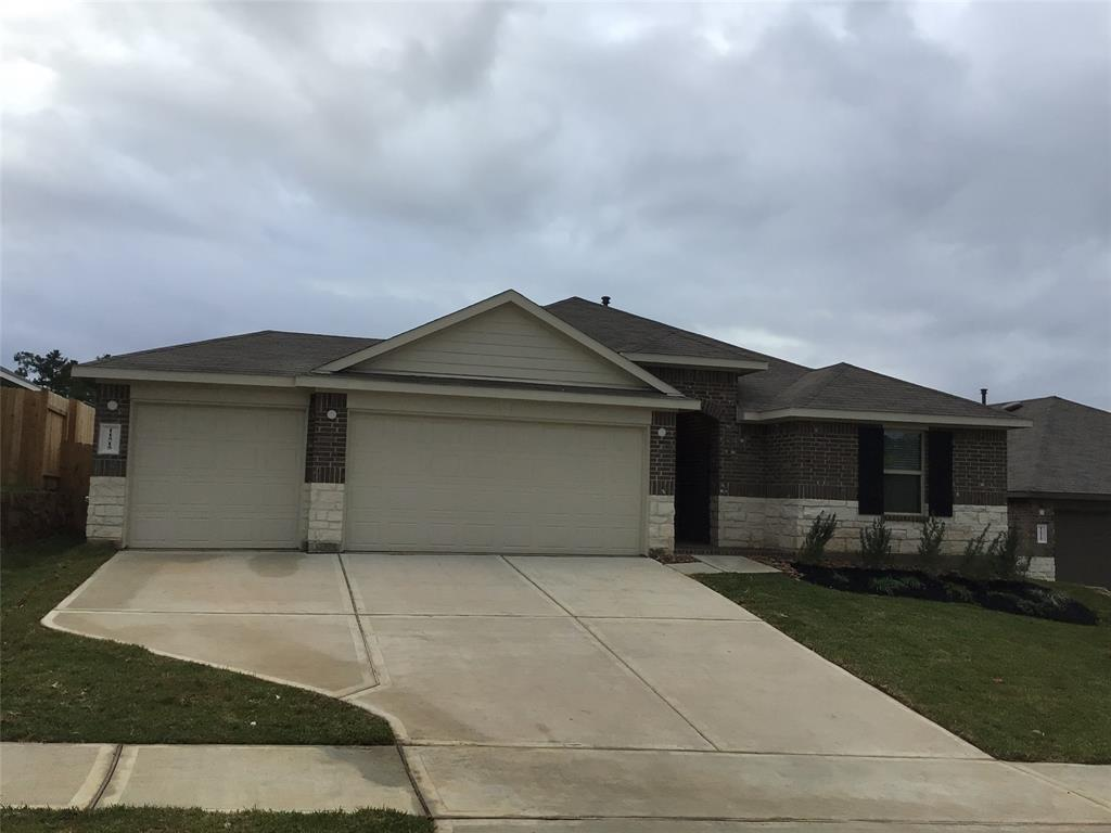 """New construction built in 2020, a 2065 sq-ft home with 4 Bed, 2 Bath, 1 story, 3 car garage/ DRHorton Open Floor Plan located at Water Crest Subdivision near Conroe Lake. This community features a Recreational Center, 2 Pools, a Club House, Playground, Ponds, Water Falls and Private Boat Ramp Access. The house came equipped with Washer and Dryer, Kitchen has a large Island able to seat the whole family for breakfast,  36"""" dark cabinets and granite countertops. Great Primary bedroom with Primary Bathroom with separate shower and bathtub and double sink vanity and large Walking Closet. On the back the house has a covered patio and considerable backyard."""