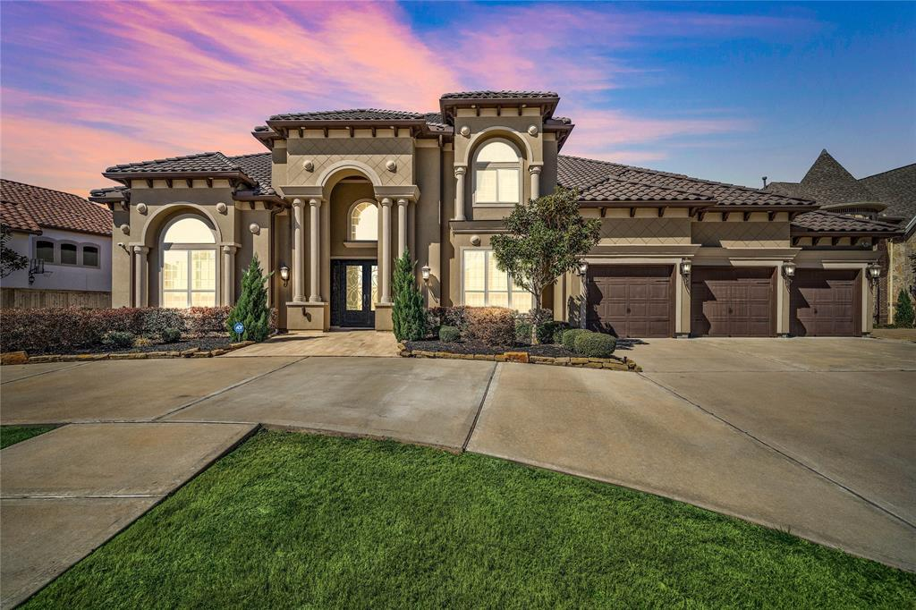 Did you ever think you'd find it all in one package? Luxuriously refined and boasting two master suites, this Toll Brothers Home delivers both form and function. Resting on a 0.31-acre lot in the community of Riverstone, this opulent 5BR/5.5BA, 6,695sqft abode stirs the imagination. Enter to find a two-story grand foyer, curving staircases, high ceilings, and a pre-wired surround sound system. Explore the open floorplan to discover a gourmet kitchen that has stainless steel appliances, granite countertops, center island, walk-in pantry, gas range, and a separate spice kitchen! Located on a greenbelt, the fully fenced-in backyard has a heated swimming pool, hot tub, and covered patio. Rest in the master bedroom, which has hardwood floors, huge closets, and an en suite w/walk-through shower, soaking tub, and dual sinks. Other features: 3-car garage w/large circular driveway, oversized bedrooms, laundry room, fireplace, coffered ceilings, close to shopping, and more! Call now for a tour!