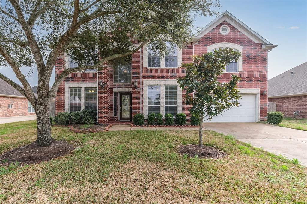 Stunning ALL BRICK 2-STORY, 6 BEDROOMS, 4.5 BATHS home located in the sought after Sunrise Lakes subdivision! Your new home features a foyer with tall ceilings, an open concept floor plan, tall ceilings throughout, study/office, formal dining room, baluster stair railing, cathedral ceiling living room w/ fireplace, gourmet kitchen with a breakfast bar, and designated breakfast room. EXTRA SPACIOUS BEDROOMS, 2 bedrooms down, primary bedroom with en-suite bath, mother-in-law suite with a private bath. GAME ROOM and MEDIA ROOM! Fruit trees and a large backyard awaits you! This is the PERFECT PLACE TO CALL HOME! Subdivision amenities include pool/tennis court, clubhouse, playground! This magnificent neighborhood is located on the northwest side of Pearland with easy access to downtown Houston, the world-renowned Texas Medical Center, Hobby Airport, and outstanding schools! Conveniently located near restaurants, freeways, and shopping centers, including the Pearland Town Center!