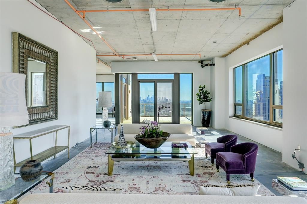 Spectacular opportunity to build your dream home in the sky. Unfinished, this two story penthouse condo boasts breathtaking 270 degree views of the Houston skyline. Perfectly perched in the heart of the Post Oak district, enjoy the best that Houston has to offer in culinary destinations, shopping, and entertainment. Elevator takes you to a private lobby from which you enter your home. Entertain your guests in large living spaces with gorgeous downtown views or on your two expansive corner balconies. With only two units per floor, this building offers an exclusive club atmosphere for its residents. Architects plans are available and can be provided by the seller. Elevator capable.