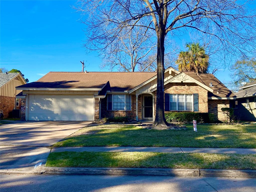 Amazing Find in Shepherd Park Plaza! Come check out this  beautifully maintained 3/2/2 home with in ground pool. Home has been refreshed with interior/exterior paint and new carpet FEB 2021. Home was remodeled in 2010 with upgraded tile and wood flooring. Granite counters in kitchen, upgraded cabinets, built in microwave, stainless steel appliances, recessed can lighting, crown moulding, upgraded Cheyenne 2 panel smooth doors, upgraded hardware and light fixtures, electrical & insulation. Master bedroom has built in surround sound speakers in the ceiling. Living areahas wood flooring and a massive brick gas log fireplace. The backyard boasts an in ground pool which will be great to cool down in the hot Houston summer days.  The yard has undergone a deep cleaning and landscaping has been spruced up to welcome the new owners. There is a grapefruit and an orange tree at the back of the property.