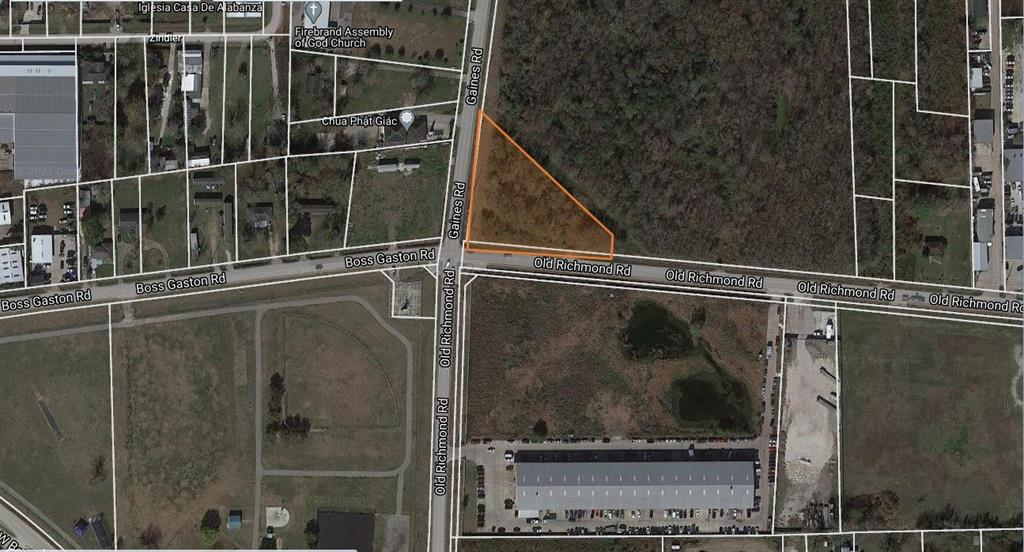 Excellent Development opportunity to buy unrestricted property with 338 feet frontage and 318 feet frontage on Old Richmond Road and Gains Road. Very busy intersection with excellent frontage; outstanding place for retail center, single office or multiple office development. Original parcel was for 21.45 Acres which has been divided to three different parcel. This particular parcel is for 1.318 Acres. Property is aggressively priced, you will not come across parcel of this size for this price in the area.