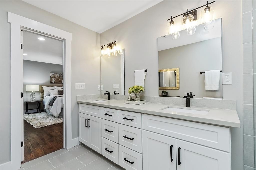 There is exceptional storage and counter space in/on the double bowl vanity.