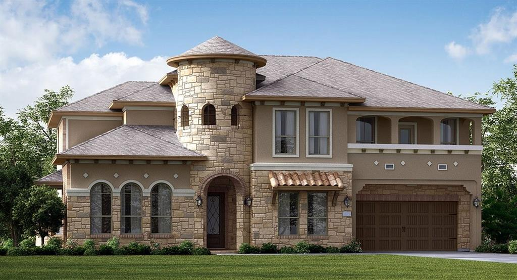 """NEW! Village Builders Kingston Series ''Stanton'' Plan with Stucco/Stone/Brick Elevation """"T"""" in Beautiful Aliana! Stunning Design w/ Unique Ceiling Treatments, Mouldings and Arches. 5 Beds (2 Down) /4.5 Baths + Game Room, MEDIA ROOM, Dining Room, and Study. Dramatic Curved Staircase! Gorgeous & EXTENSIVE TILE FLOORING! Family Room with Fireplace. Gourmet Island Kitchen with KITCHEN APPLIANCE PACKAGE, Breakfast Bar, Breakfast Nook & Butler's Pantry! Sparkling Silestone Countertops in Kitchen, Luxury Master Bath. Covered Rear Patio, 2nd Floor Balcony, 4 CAR GARAGE & More! Energy Efficient, Fabulous Home!"""