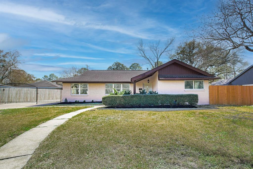 This gorgeous home has been updated throughout, minutes from Meyerland Plaza, Galleria, and Med Center. Zoned to highly acclaimed Bellaire High School. Chef style kitchen with SS appliances and Granite countertops, lots of cabinet storage. Open layout is perfect for entertaining guests and keeping an eye on the kids. Great size master bedroom with vaulted ceilings. Living room opens up to patio through French doors. Huge fully fenced back yard, deck with new pergola. Massive gated driveway with extra parking for at least another 6 cars and a two car garage. Never Flooded. Buyer to independently verify all property details, condition, specs, room sizes, deed restrictions, taxes, etc...