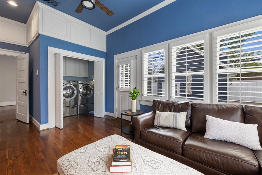 Current owner has utility in the house for convenience, but it could also be moved to the garage to open up closet space!