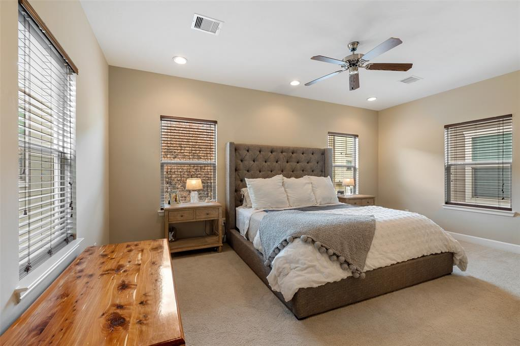 The large primary bedroom is a great place to relax in the evenings and is large enough for a king sized bed.